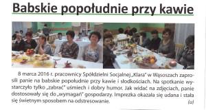 Babskie pogaduch przy kawie, zorganizowane na dzień kobiet dla wszystkich wspaniałych Pań z Wąsosz i okolic.